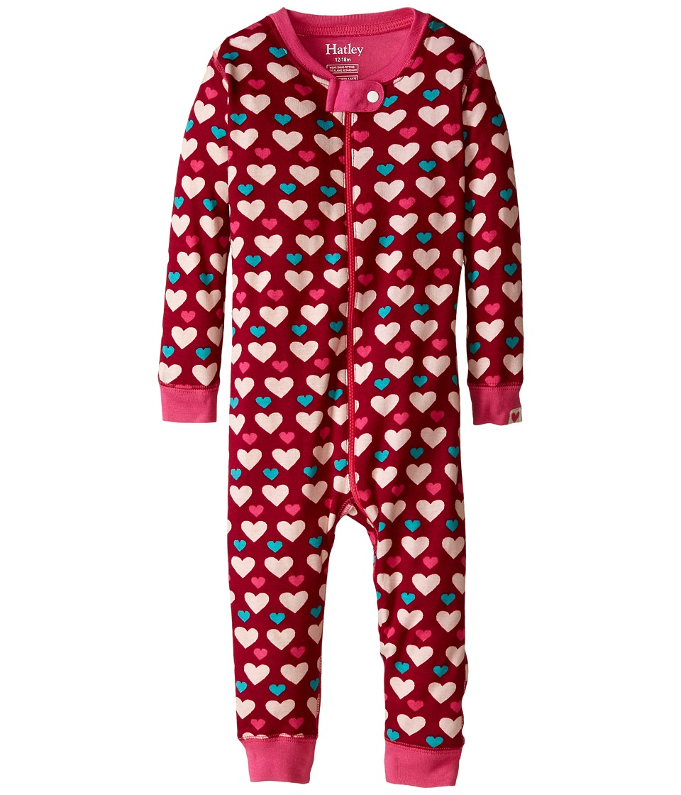 Hatley Kids - Lots Of Hearts Sleepy Romper (Infant) (Red) Girl's Jumpsuit & Rompers One Piece