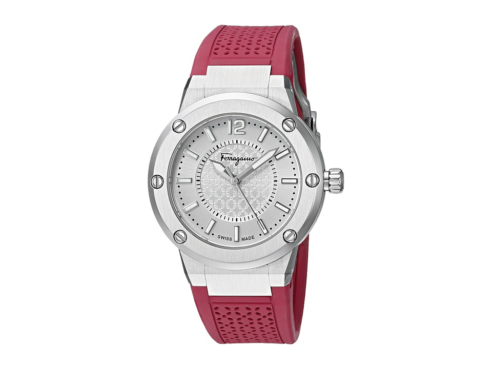 Salvatore Ferragamo - F-80 FIG010015 (Stainless Steel/Burgundy) Watches