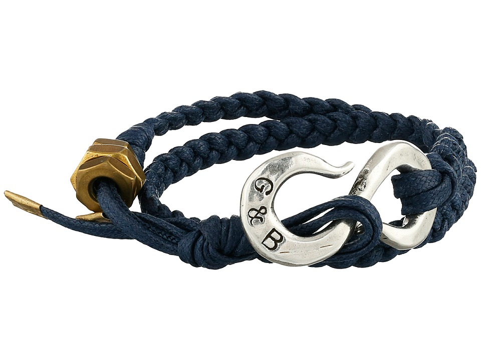 Giles & Brother - Braided S Hook Bracelet (Navy Blue/Silver Oxide) Bracelet