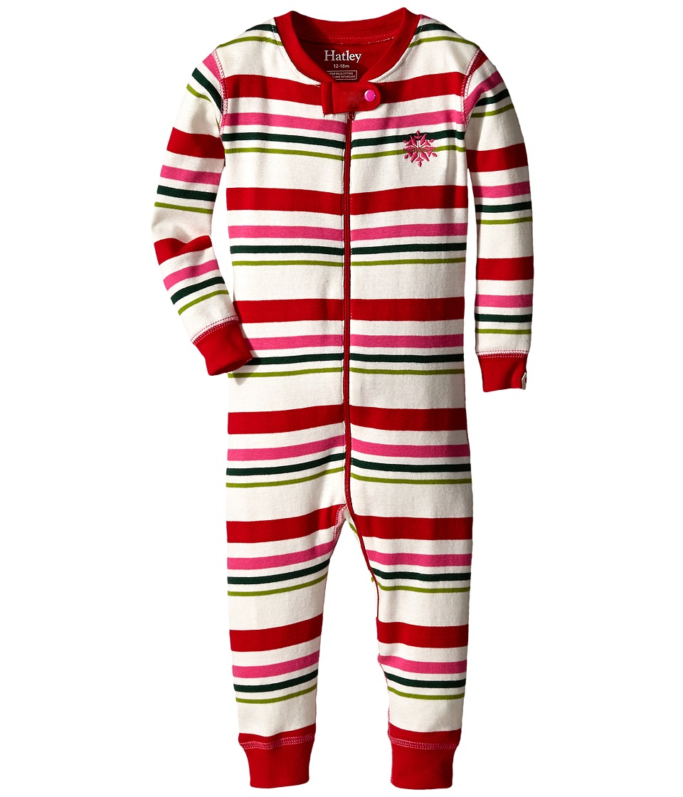 Hatley Kids - Holiday Stripe Sleepy Romper (Infant) (Multi) Girl's Jumpsuit & Rompers One Piece