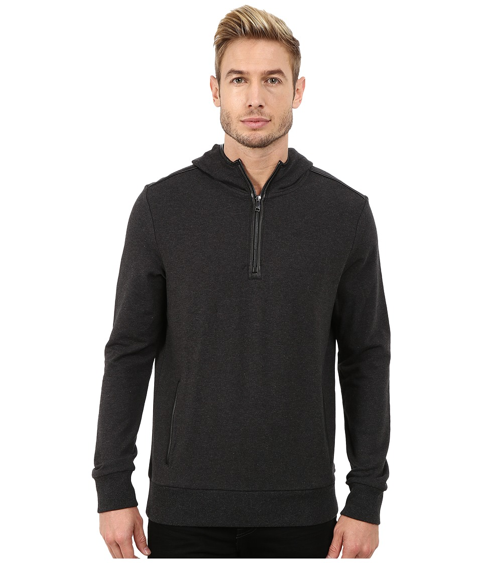 Michael Kors - Bind Hoodie with 1/2 Zip (Charcoal Melange) Men's Sweatshirt