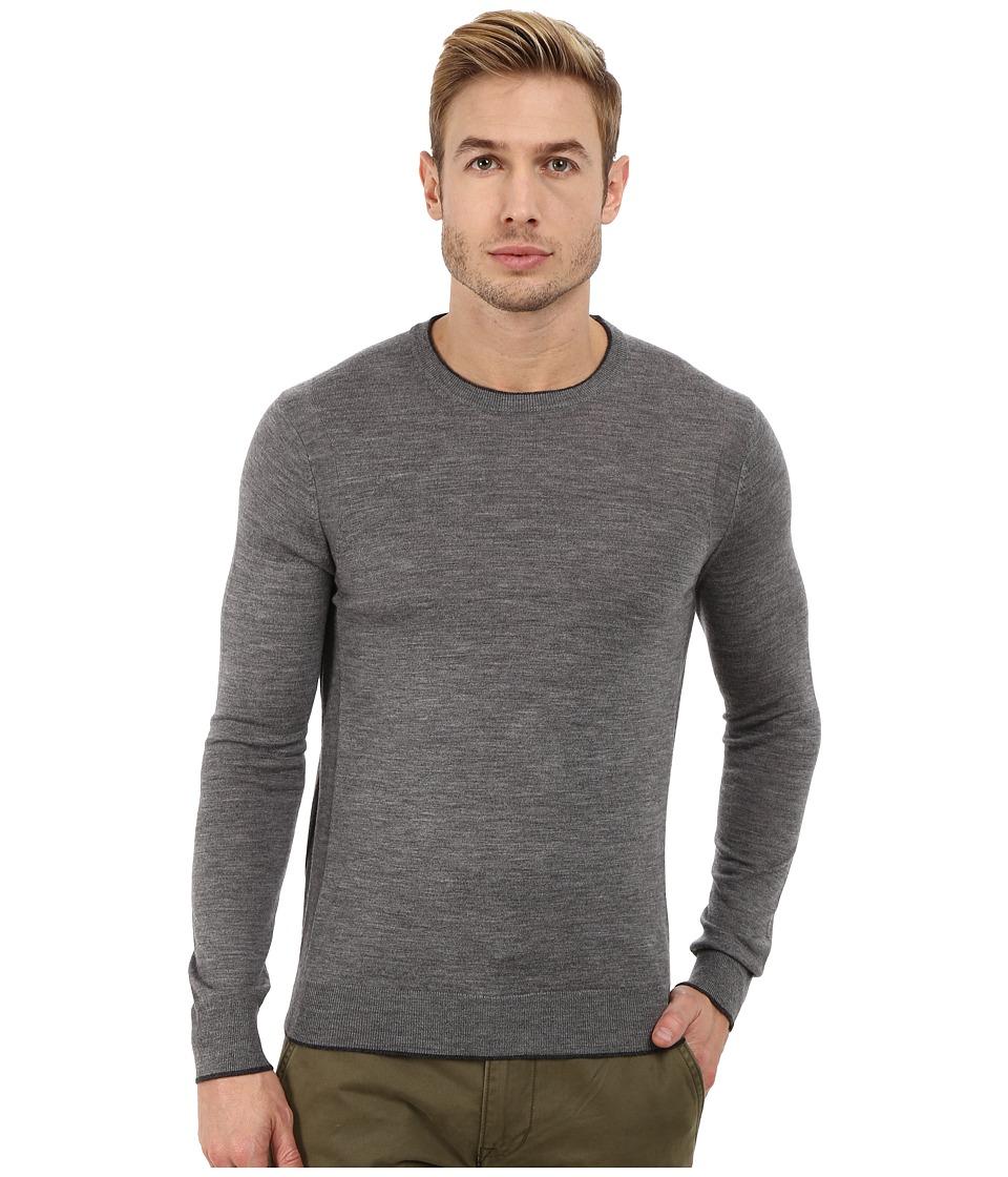 Michael Kors - Tipped Merino Crew Neck Sweater (Ash Melange) Men
