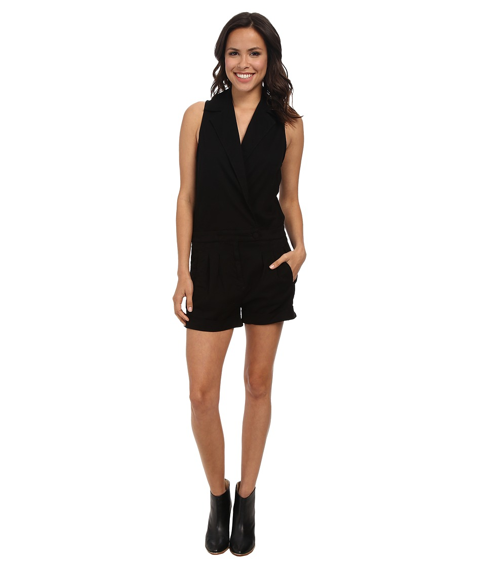 7 For All Mankind - Short Romper (Black) Women's Jumpsuit & Rompers One Piece