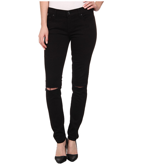 7 For All Mankind - Skinny with Knee Holes in Black (Black) Women