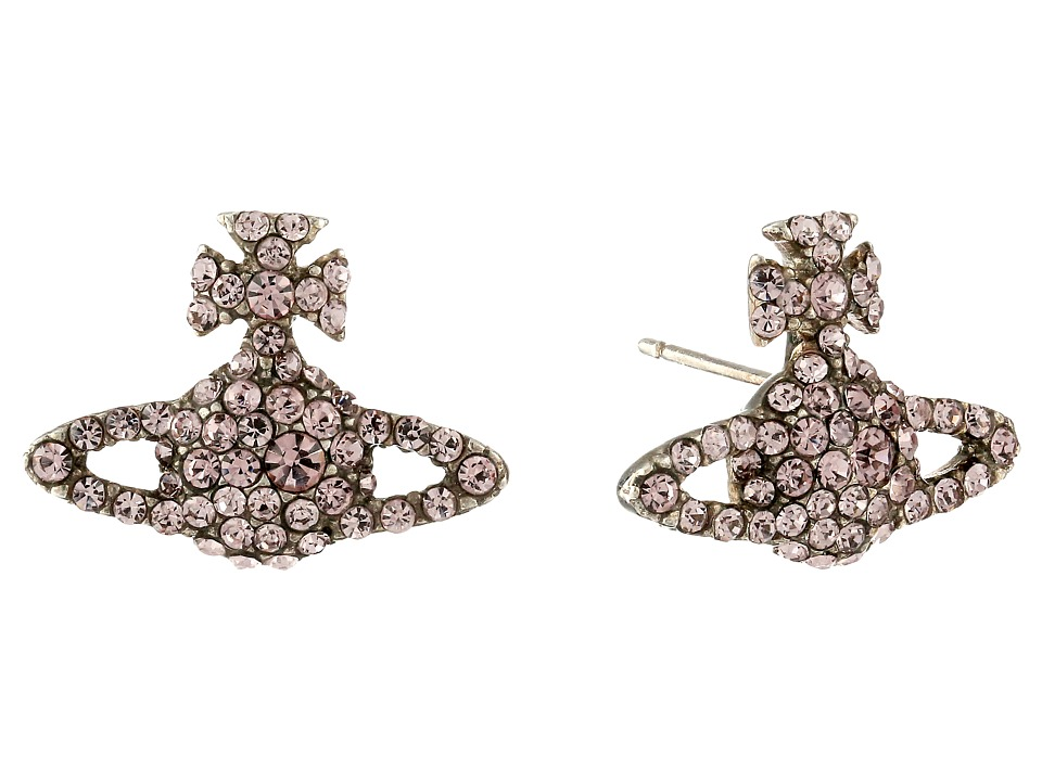 Vivienne Westwood - Grace Bas Relief Stud Earrings (Light Amethyst) Earring