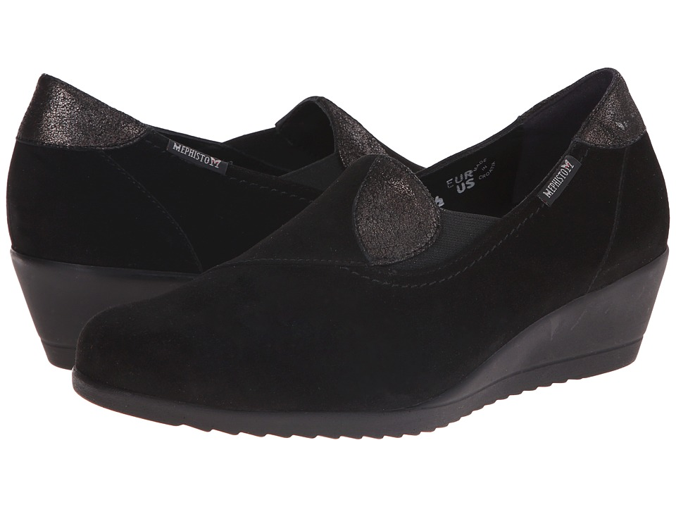 Mephisto - Giacinta (Black Velcalf Premium/Dark Grey Podium) Women's Wedge Shoes
