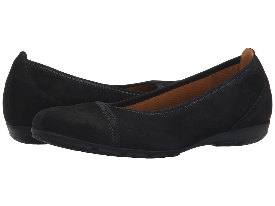 Gabor - Gabor 34.160 (Black Nubuk Lavato) Women's Flat Shoes