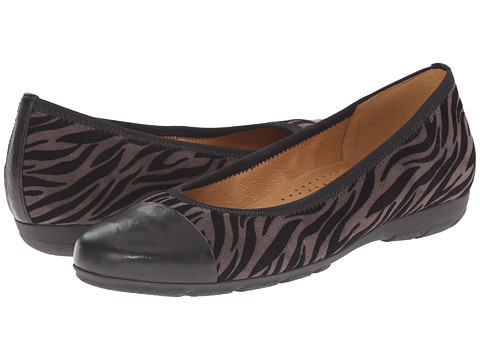 Gabor - Gabor 34.161 (Grey Zebra Flock/Black Tucson) Women's Slip on Shoes