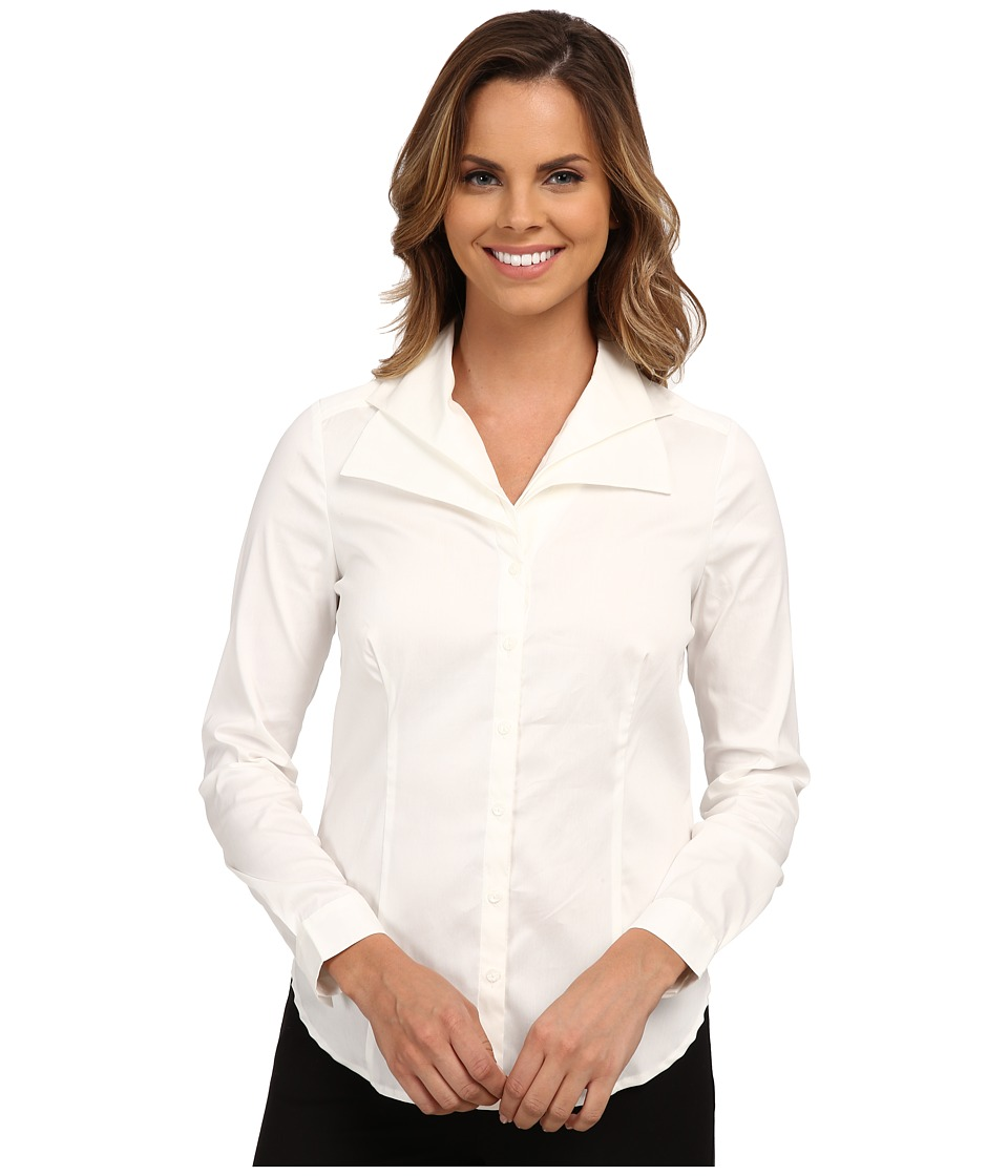 NYDJ - Fit Solution Double Shawl Collared Blouse (Sugar) Women's Long Sleeve Button Up
