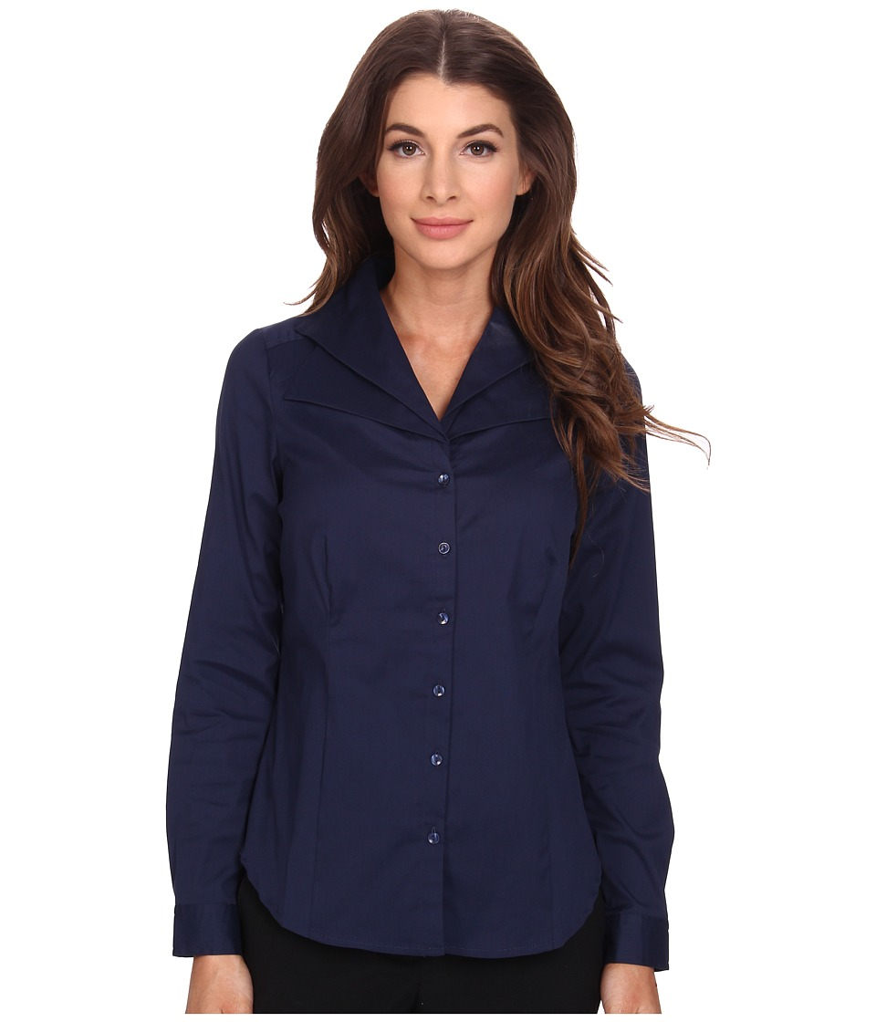 NYDJ - Fit Solution Double Shawl Collared Blouse (Knight Blue) Women's Long Sleeve Button Up
