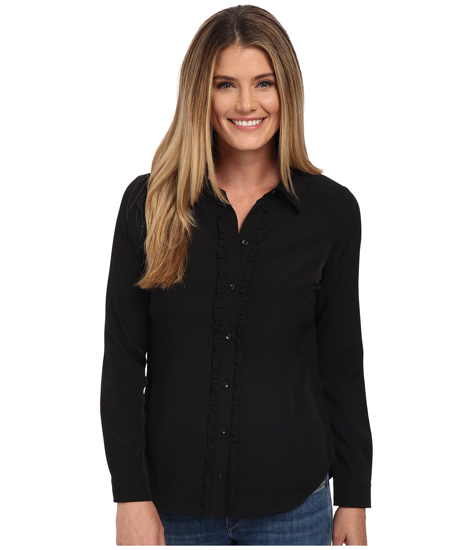 NYDJ - Fit Solution Ruffle Front Blouse (Black) Women's Long Sleeve Button Up