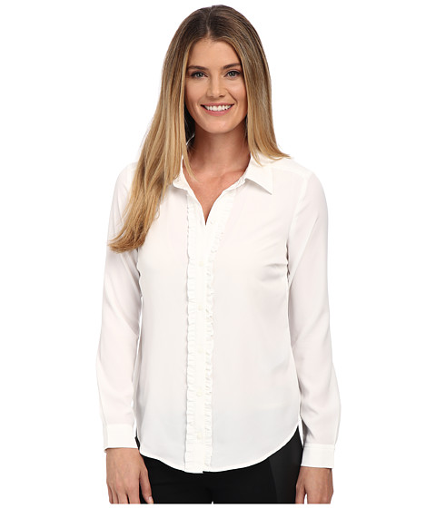 NYDJ - Fit Solution Ruffle Front Blouse (Sugar) Women's Long Sleeve Button Up