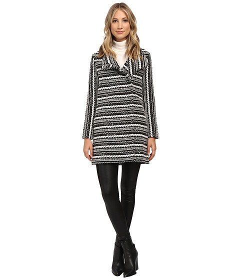 Shoshanna - Effie Coat (Black/White) Women's Coat