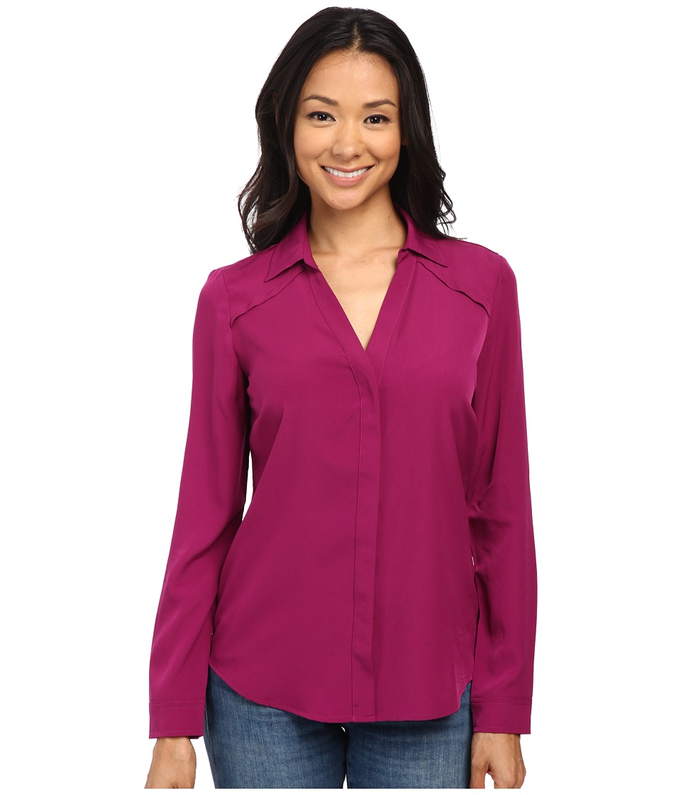 NYDJ - Fit Solution Split Neck Blouse (Sangria) Women