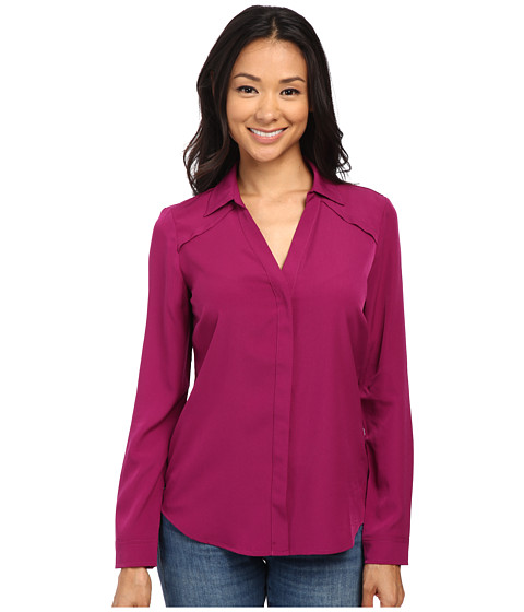 NYDJ - Fit Solution Split Neck Blouse (Sangria) Women's Long Sleeve Button Up
