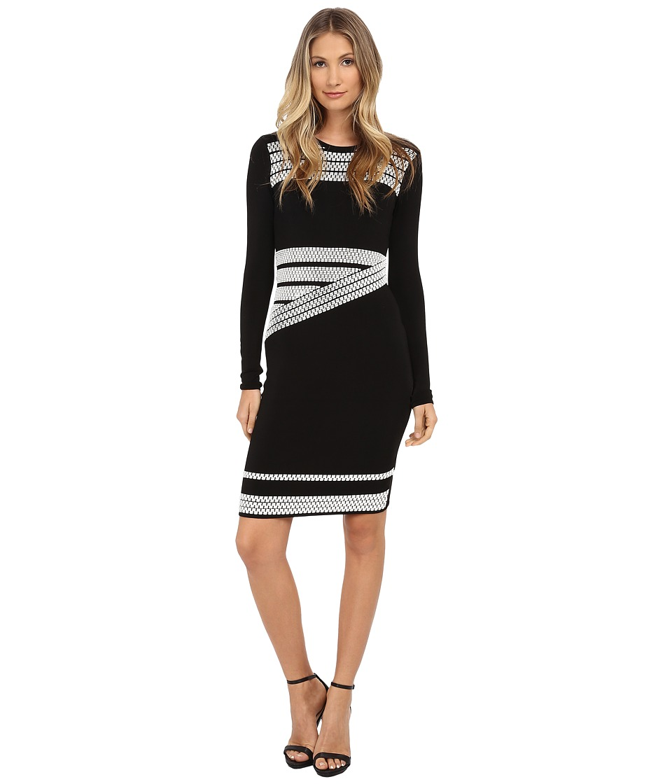 Shoshanna Agatha Sweater Dress (Black/White) Women