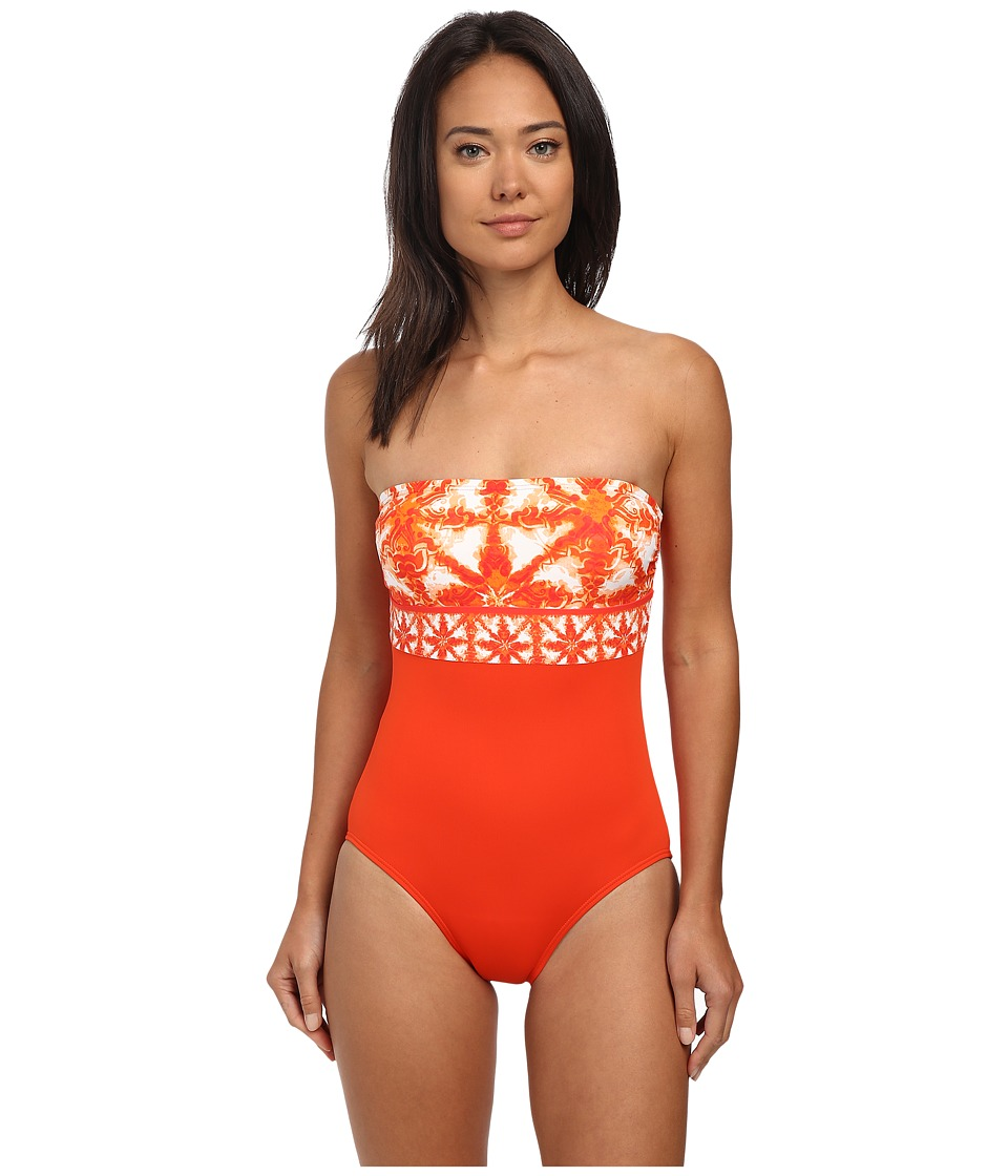 MICHAEL Michael Kors - Glazed Tile Bandeau Maillot One-Piece (Dark Clementine) Women