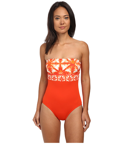 MICHAEL Michael Kors - Glazed Tile Bandeau Maillot One-Piece (Dark Clementine) Women's Swimsuits One Piece