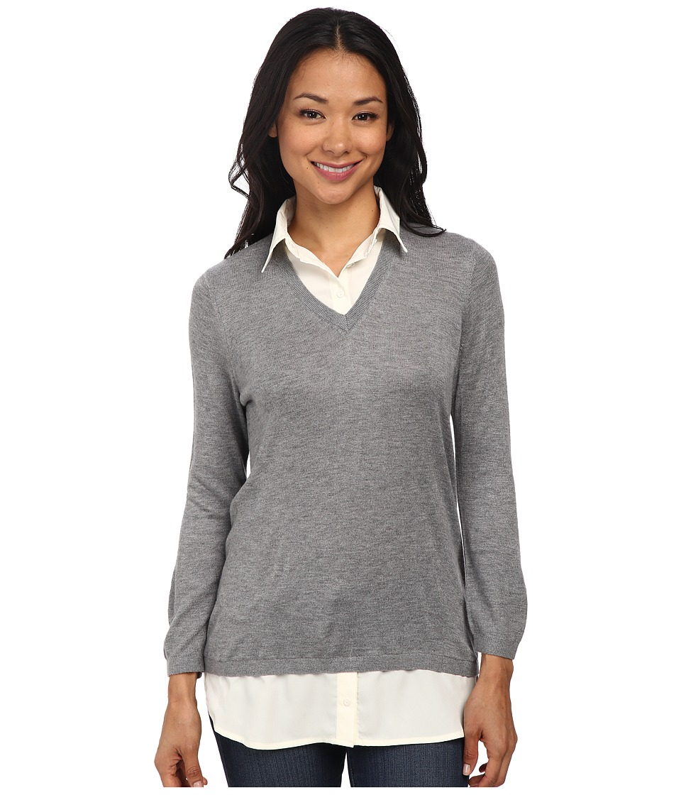 NYDJ - Retro Twofer Sweater (Heather Grey) Women's Sweater