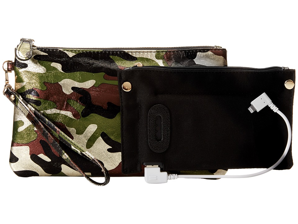 Mighty Purse - Cow Leather Charging Wristlet (Camouflage) Handbags