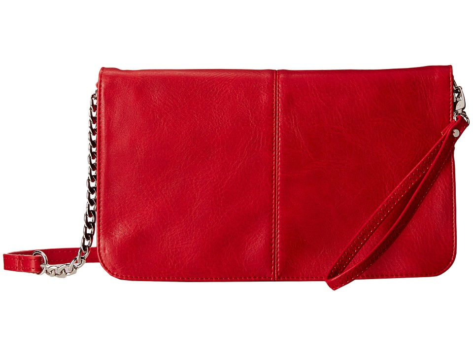 Mighty Purse - Vegan Leather Charging Flap X-Body Bag (Red) Handbags