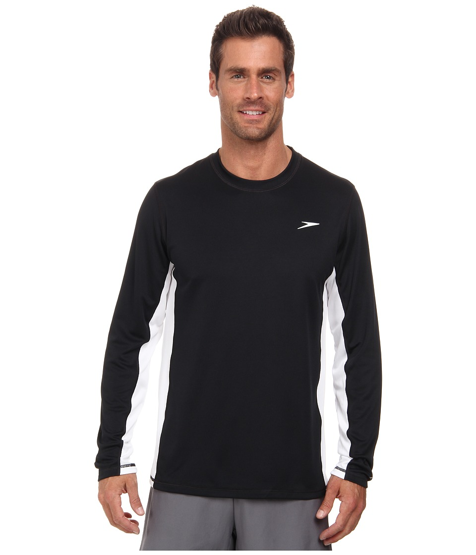 Speedo - Longview Long Sleeve Swim Tee (Black) Men's Swimwear