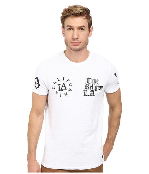 True Religion - Short Sleeve Multi Logo Crew Tee (White) Men's T Shirt