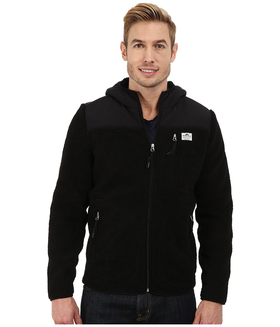 Penfield - Carson Hooded Pile Fleece Jacket (Black) Men's Coat