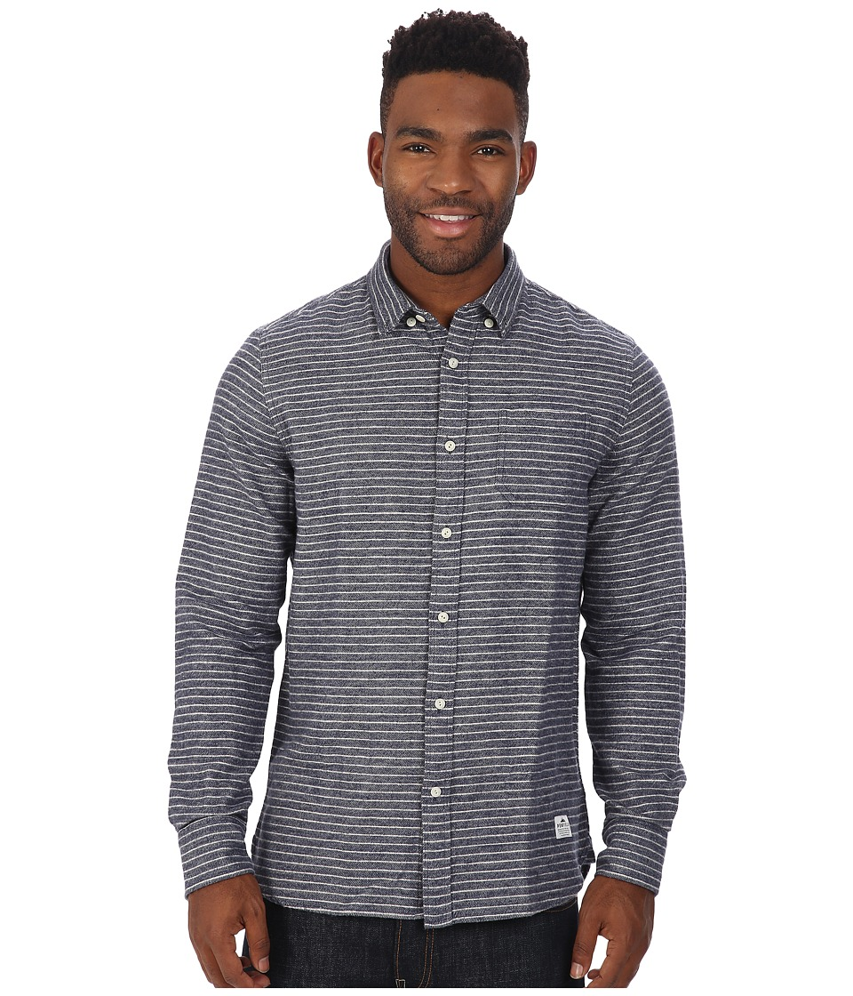 Penfield - Canso Striped Brushed Flannel Long Sleeve Shirt (Blue) Men's Long Sleeve Button Up