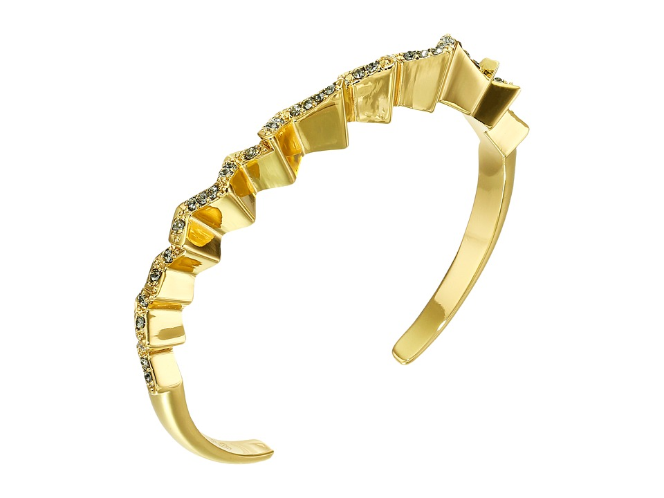 Giles & Brother - Ray Zig Zag Pave Cuff (Gold Finished Brass/Black Diamond Crystal Pave) Bracelet