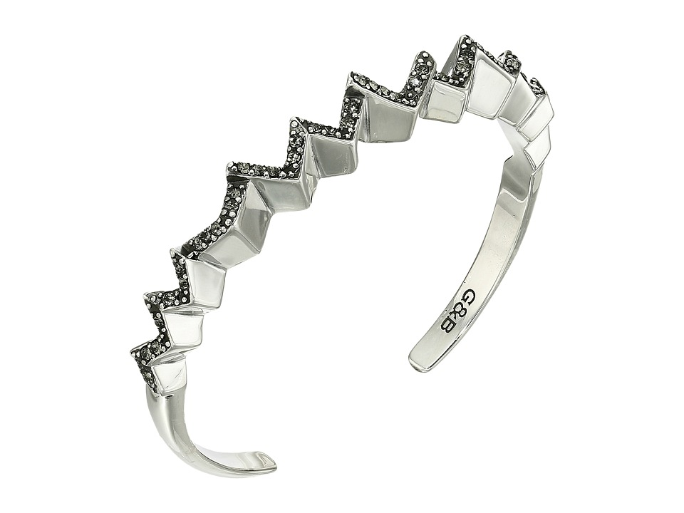 Giles & Brother - Ray Zig Zag Pave Cuff (Silver Oxide Finished Brass/Black Diamond Crystal Pave) Bracelet