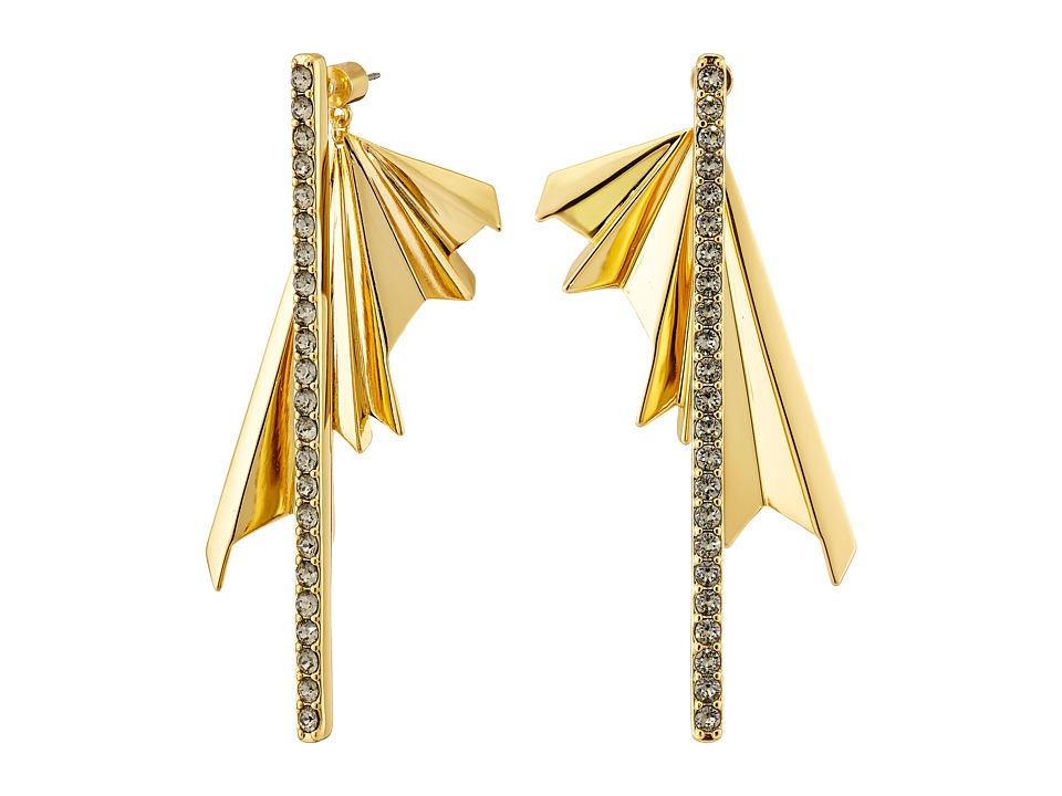 Giles & Brother - The Ray Burst Pave Earrings (Gold Finished Brass/Black Diamond Crystal Pave) Earring