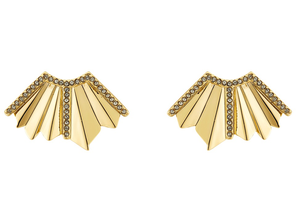 Giles & Brother - Ray Fan Pave Earrings (Gold Finished Brass/Black Diamond Crystal Pave) Earring