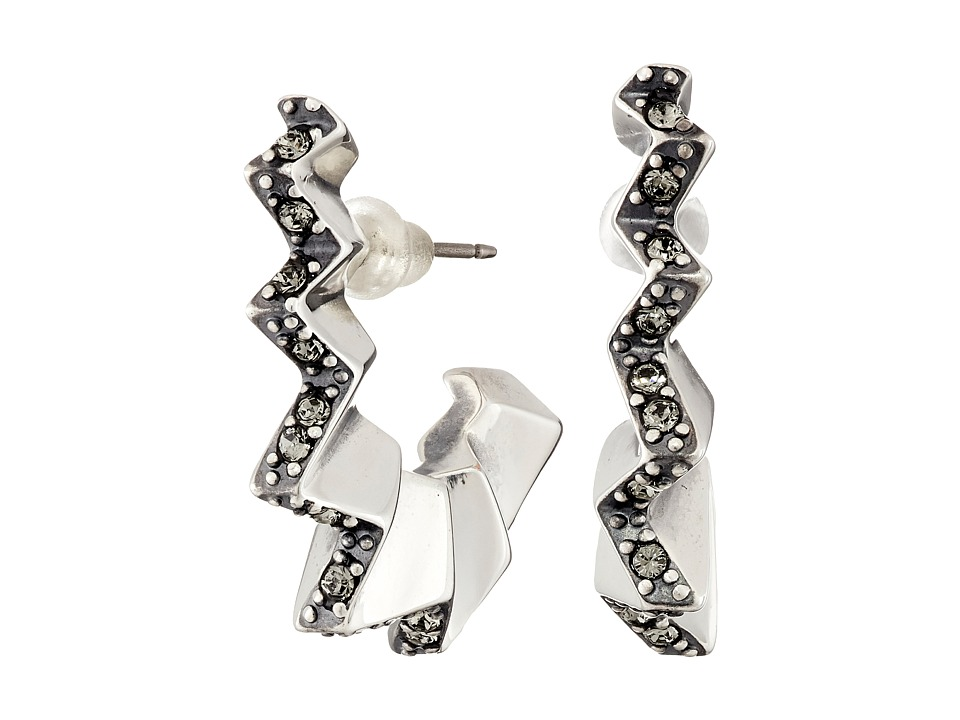 Giles & Brother - Ray Zig Zag Pave Hoop Earrings (Silver Oxide Finished Brass/Black Diamond Crystal Pave) Earring