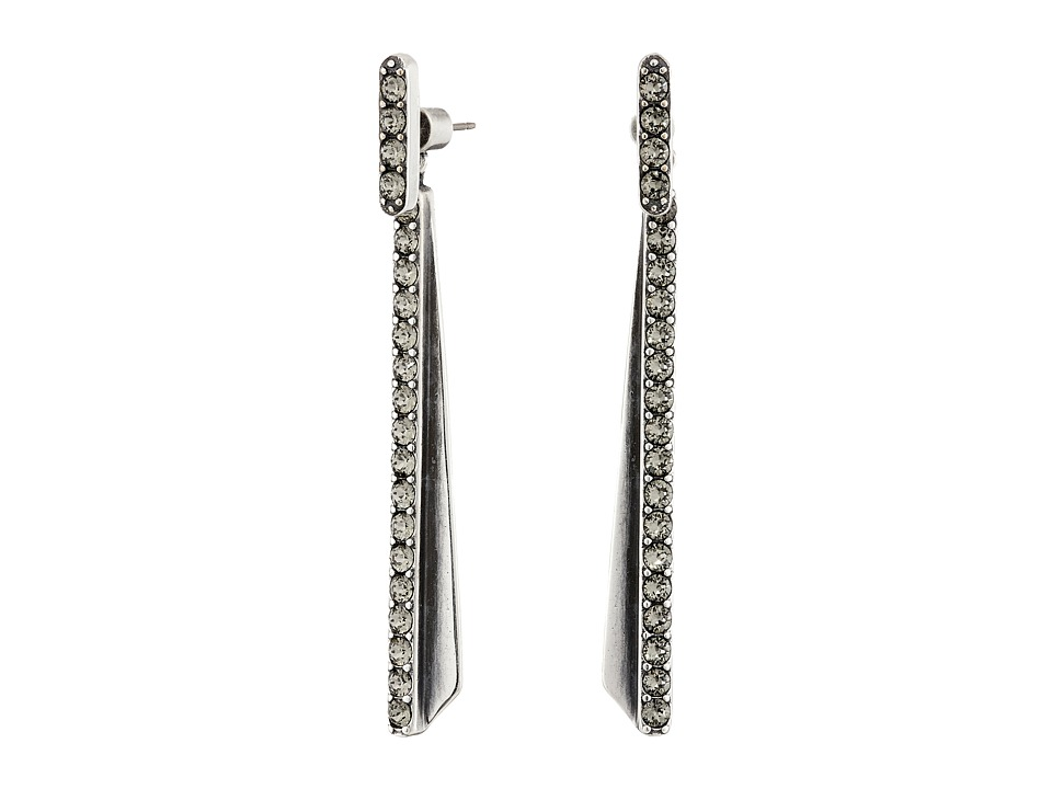 Giles & Brother - Ray Bar Pave Drop Earrings (Silver Oxide Finished Brass/Black Diamond Crystal Pave) Earring