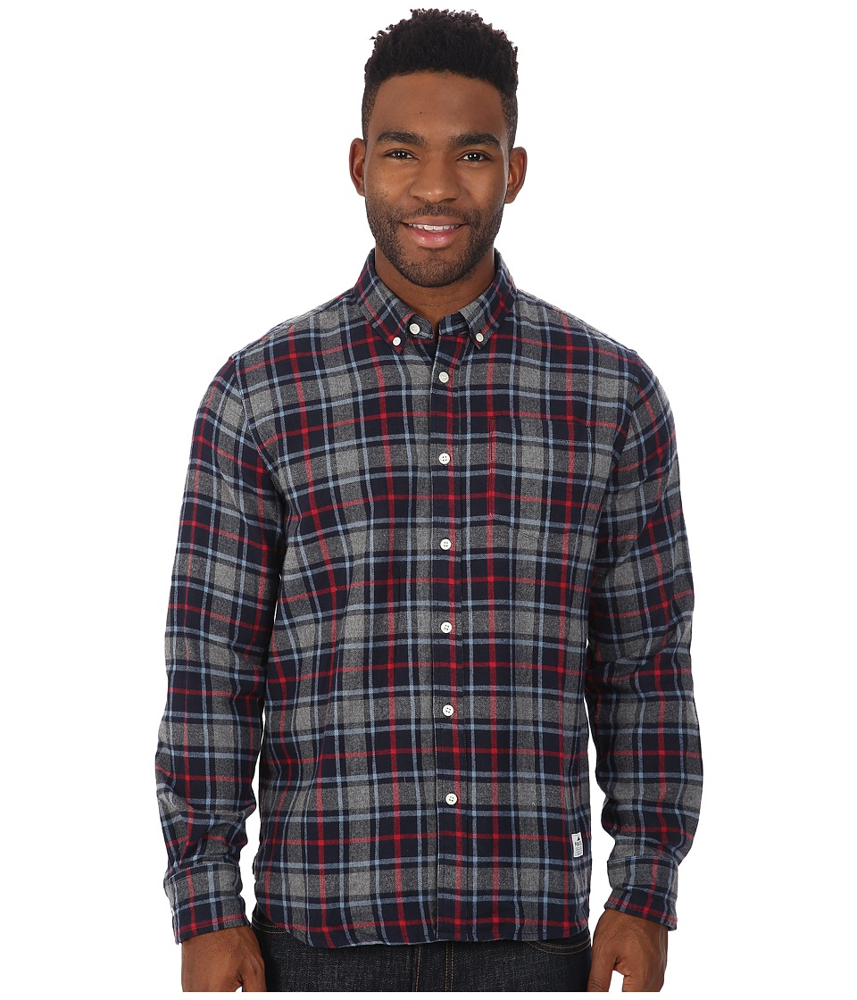 Penfield - Ravens Brushed Plaid Long Sleeve Shirt (Navy) Men's Long Sleeve Button Up