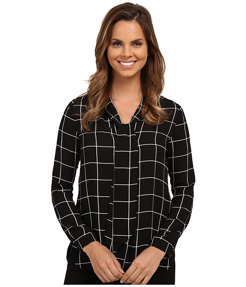 NYDJ - Printed Scarf Blouse (Black Windowpane) Women's Blouse