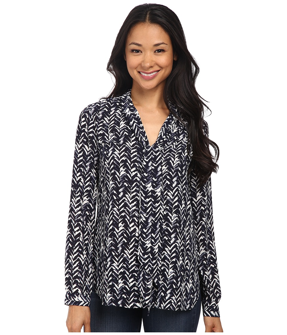 NYDJ - Printed Scarf Blouse (Feather Chevron) Women's Blouse