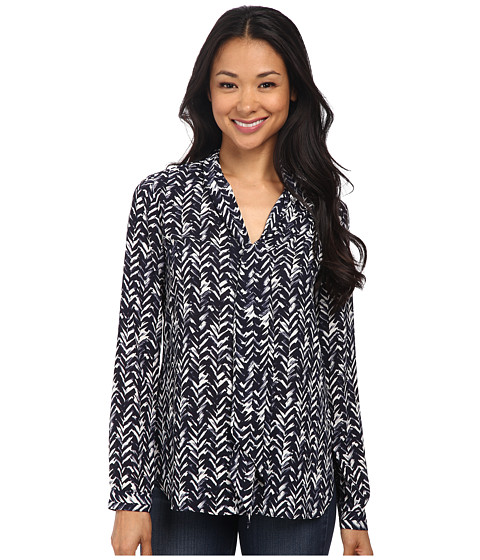 NYDJ - Printed Scarf Blouse (Feather Chevron) Women