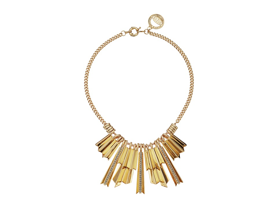 Giles & Brother - The Ray Pave Burst Necklace (Gold Finished Brass/Black Diamond Crystal Pave) Necklace
