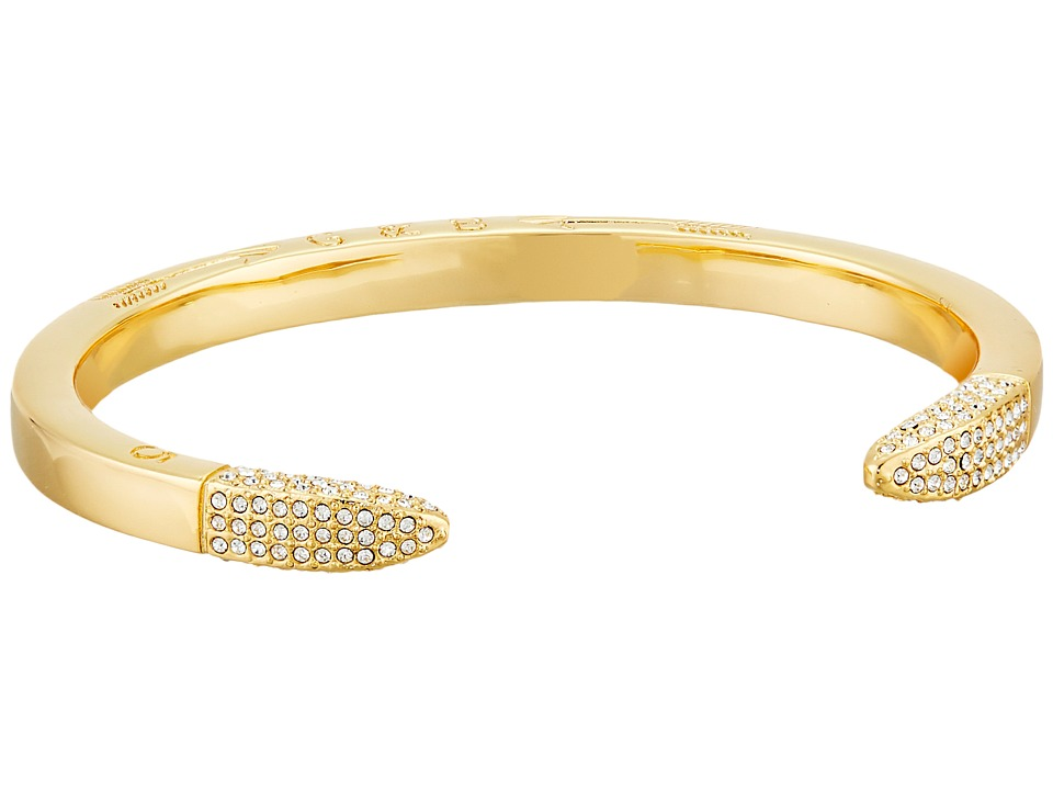 Giles & Brother - Double Spike Pave Cuff (Gold Finished Brass/Crystal Pave) Bracelet