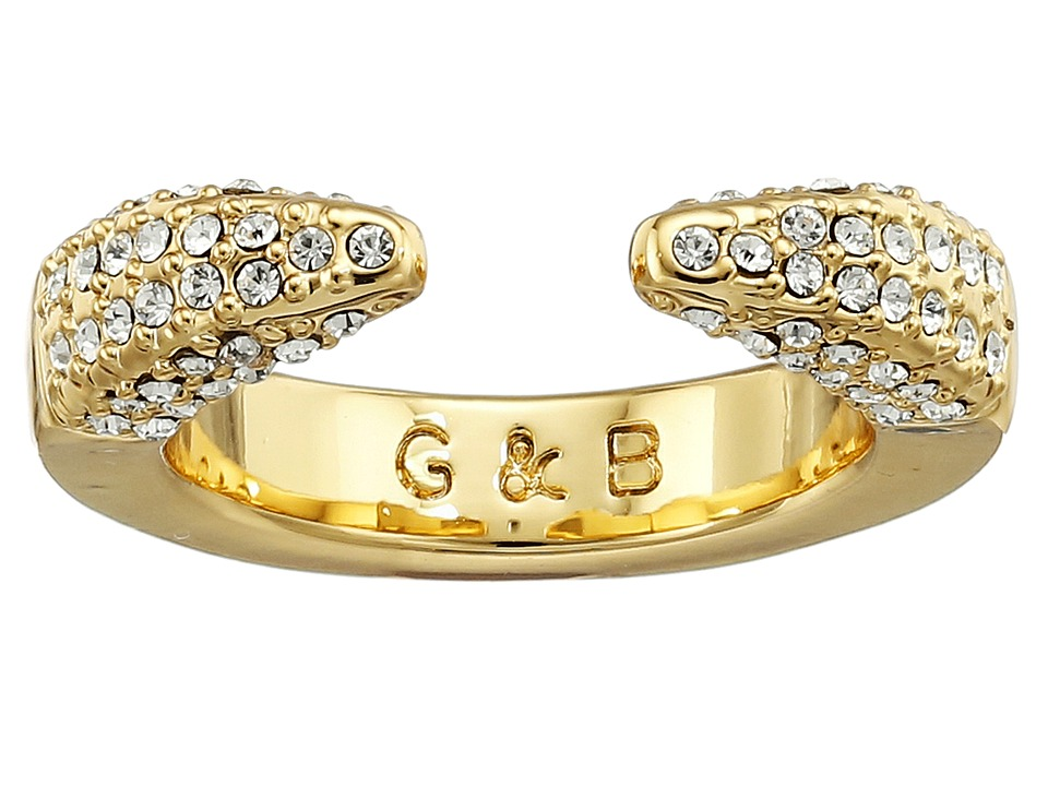 Giles & Brother - Double Spike Ring (Gold Finished Brass/Crystal Pave) Ring