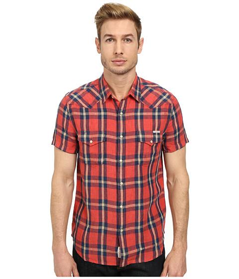 Lucky Brand - Short Sleeve Davey Westen (Red/Duck Gold/Navy) Men