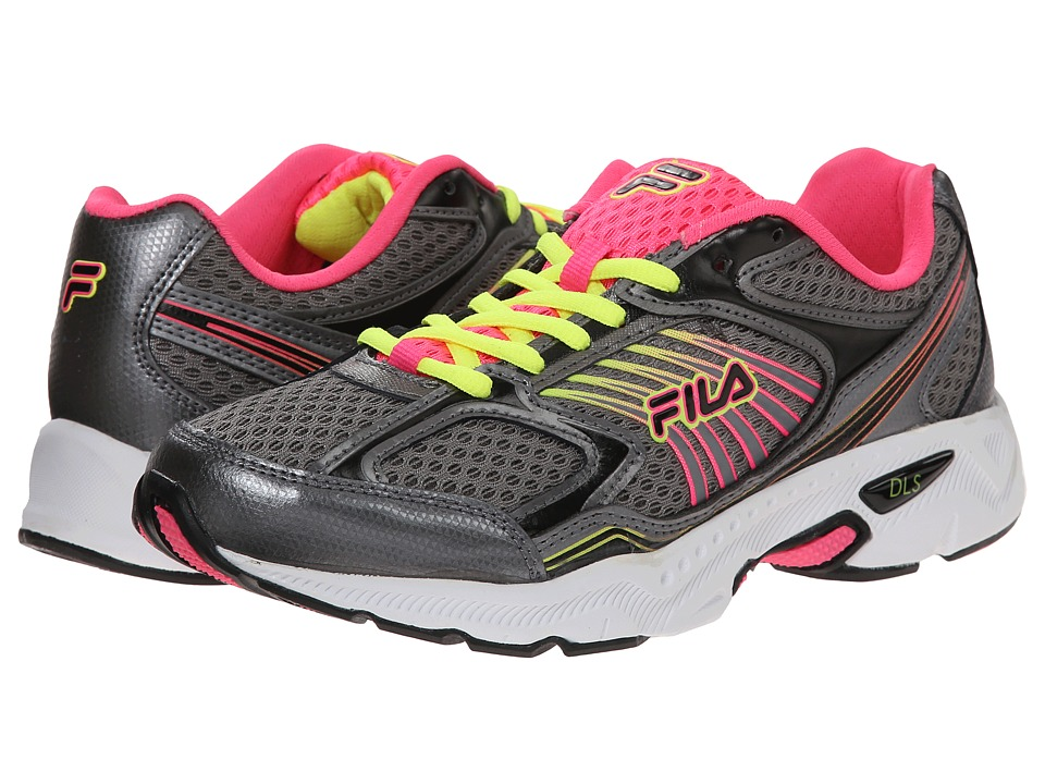 Fila - Inspell (Dark Silver/Knockout Pink/Safety Yellow) Women's Shoes