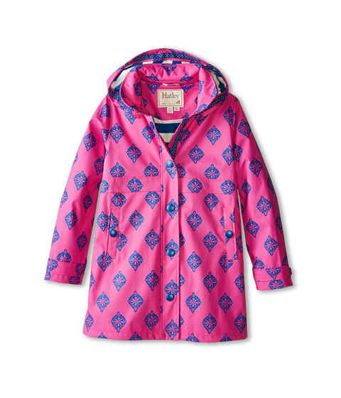 Hatley Kids - Fuchsia Medallion Splash Jacket (Toddler/Little Kids/Big Kids) (Pink) Girl's Coat