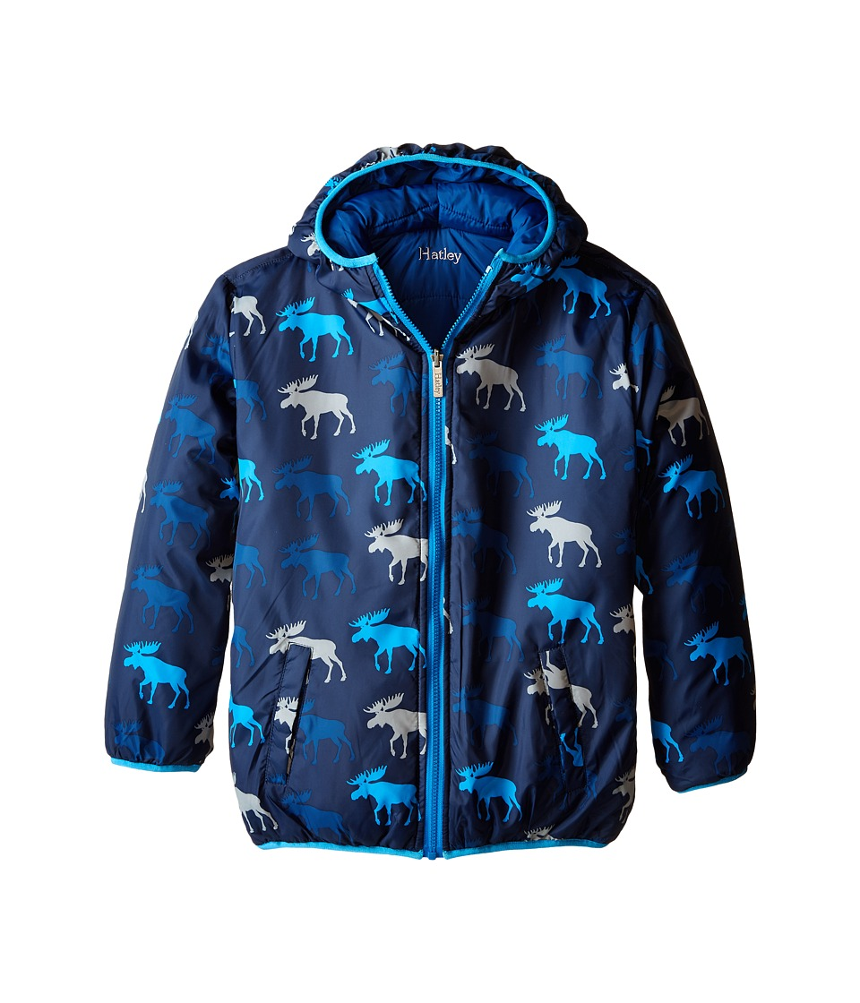 Hatley Kids - Graphic Moose Reversible Winter Puffer (Toddler/Little Kids/Big Kids) (Blue) Boy's Coat