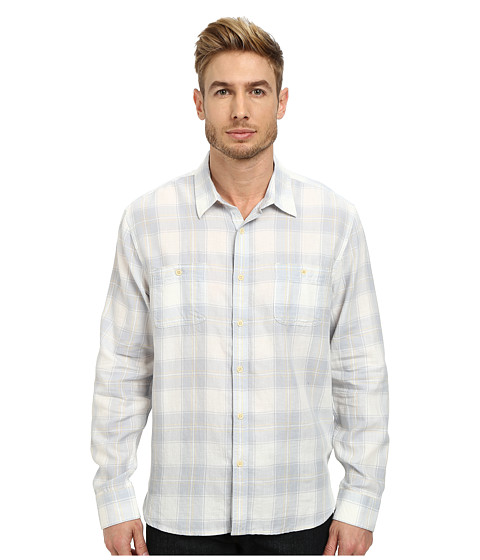 Lucky Brand - Deep Creek Workwear Shirt (White/Blue) Men's Clothing