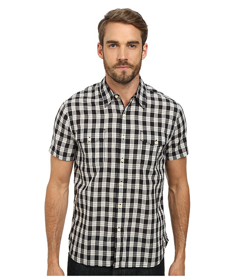 Lucky Brand - Diablo Western Shirt (Black/Natural Combo) Men's Short Sleeve Button Up