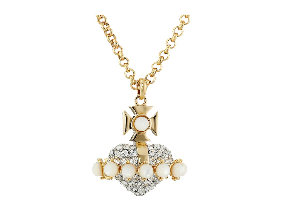Vivienne Westwood - Oona Large 3D Orb Pendant (White Mop/Crystal) Necklace