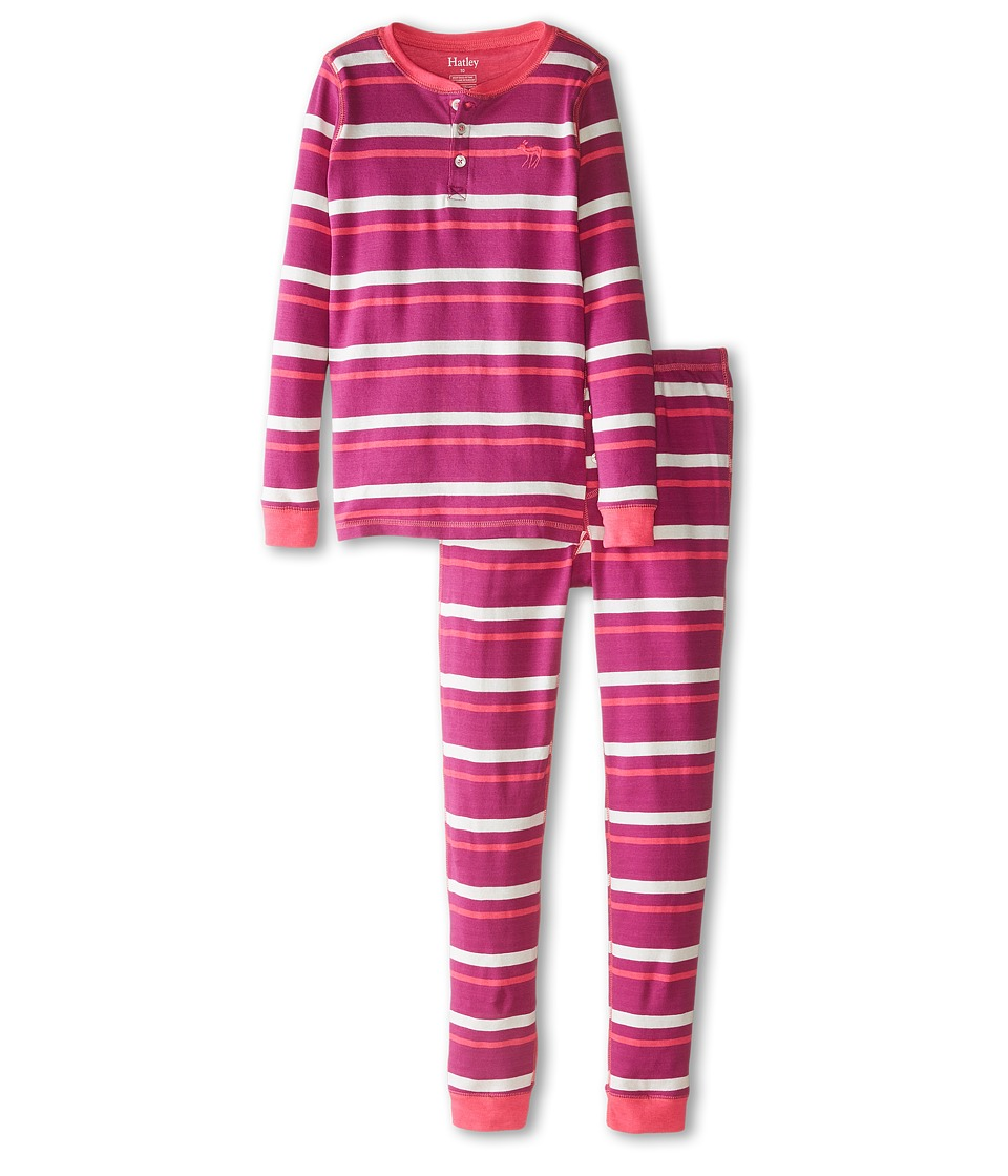 Hatley Kids - Rose Orchid Stripes Henley PJ Set (Toddler/Little Kids/Big Kids) (Pink) Girl's Pajama Sets